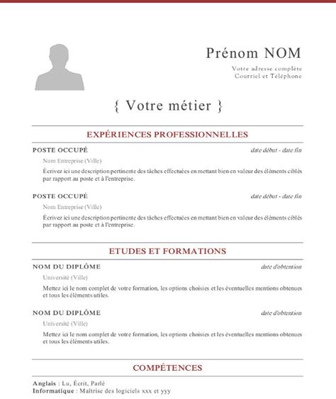 Exemple Type Cv by Visuel Modele Type De Cv
