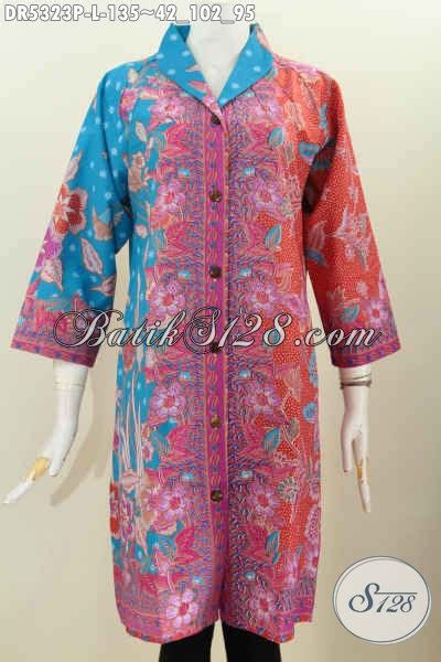 Terusan Daleman Pendek Kode 5906 sedia baju batik kerja model terusan dress batik berkelas