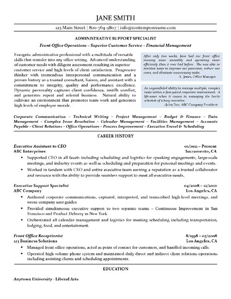 sle resume for administrative support specialist executive assistant resume sles 12 best of c level