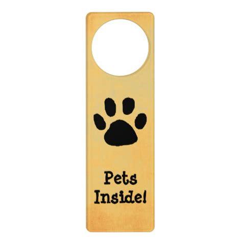 Door Knob Hanging Signs pet warning door sign door knob hangers zazzle