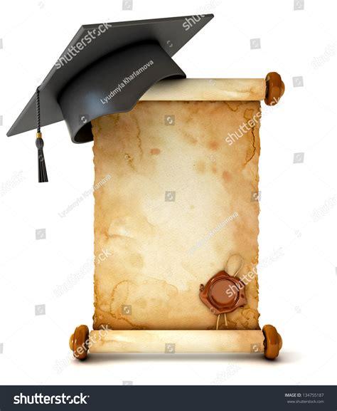 graduation scroll template graduation cap diploma unfurled ancient scroll stock