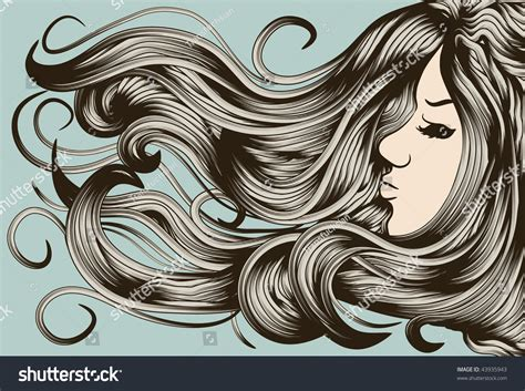 vector hair strands tutorial eps10 file face hair and background are on separate