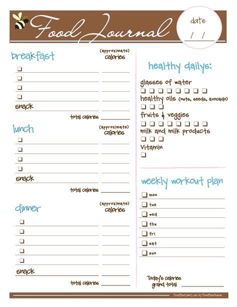 best printable food journal free food journal i love this i just printed it and it