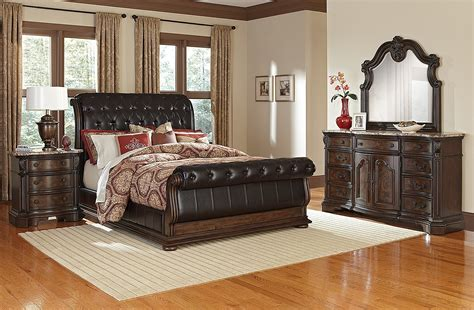monticello  piece king upholstered sleigh bedroom set pecan american signature furniture