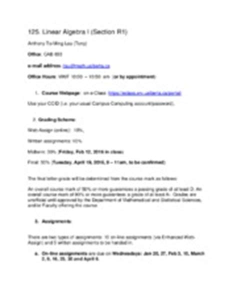 Math 249 U Of C Course Outline by Math 222 Course Outline Math Title Introduction To Discrete Mathematics
