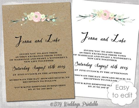 wedding invitation template rustic wedding printable printable rustic wedding invitation template rustic