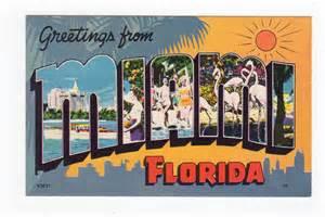 linen postcard greetings from miami florida large letter jackie s vintage postcards