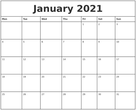 printable monthly calendar starting monday january 2021 printable monthly calendar
