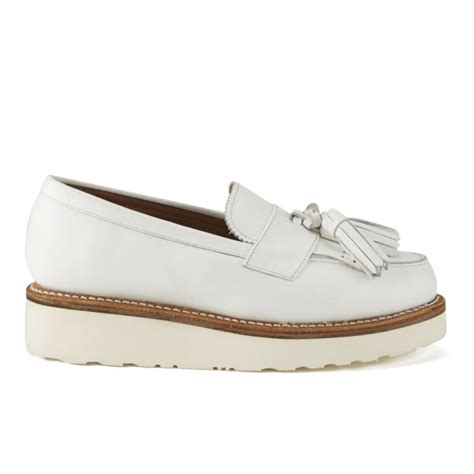 white loafers womens grenson s clara leather platform tassel loafers