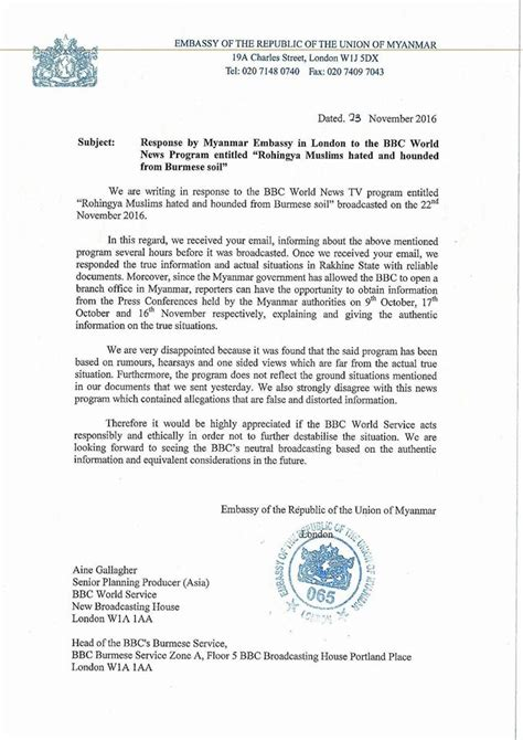 Embassy Complaint Letter Burma Officials Lodge Complaints With Unhcr