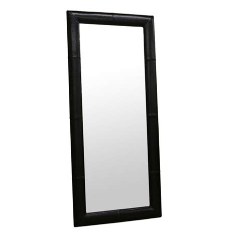 wholesale interiors floor mirror with bycast leather frame black a 61 1 j023 black