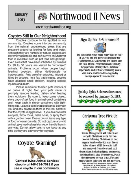 neighborhood newsletter template january 2013 northwood ii nwii hoa community
