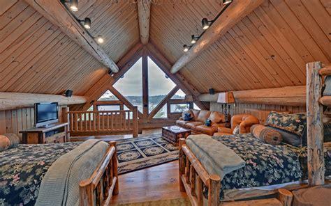 lake blue ridge custom log home traditional bedroom