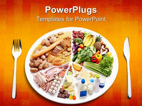 Powerpoint Template Different Types Of Food In A Plate Food Powerpoint Templates Free