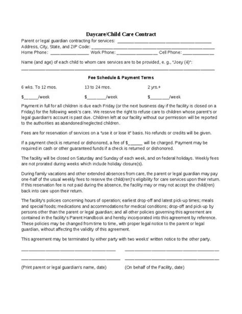Daycare Contract Template Shatterlion Info Daycare Contract Template