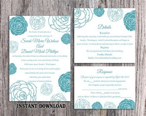 Diy Wedding Direction Cards Template 2 To A Page by Diy Wedding Invitation Template Set Editable Word File