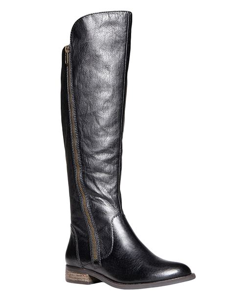 steve maddens boots steve madden shawny leather boots in black lyst