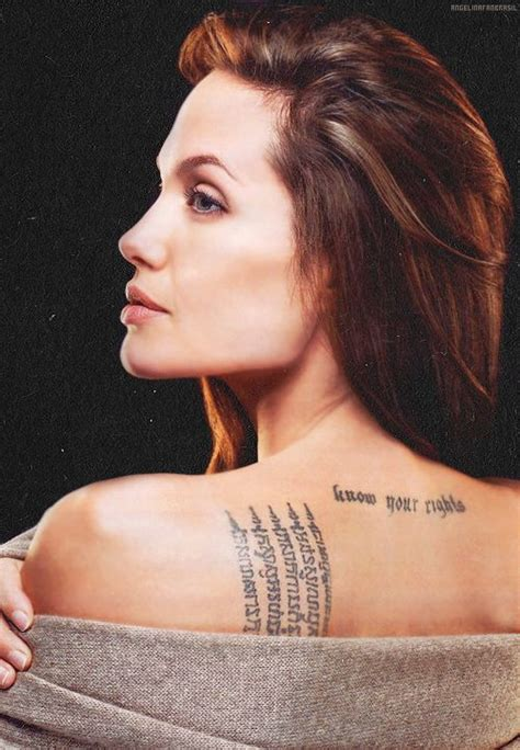 angelina jolie rune tattoo 95 best style celebrities tattoos images on pinterest