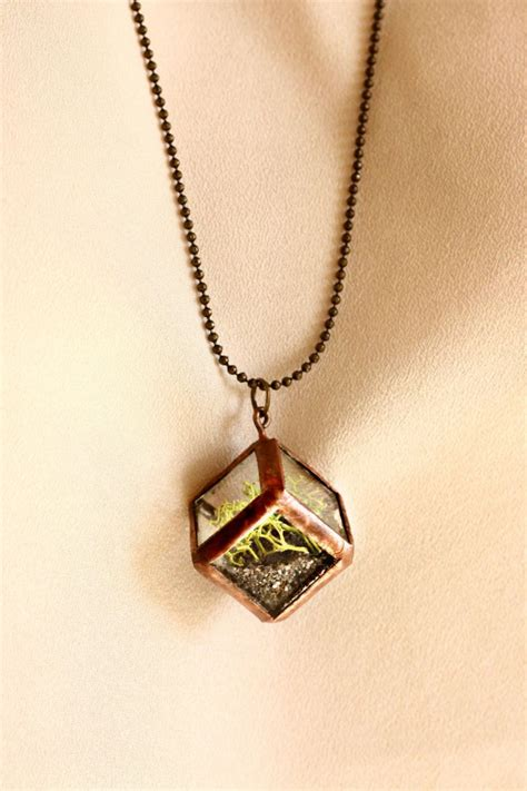 terrarium jewelry mini cube moss terrarium necklace with 28 brass by
