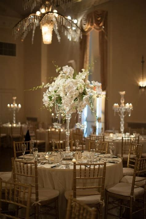 Beautiful elegant crystal candelabra wedding centerpieces