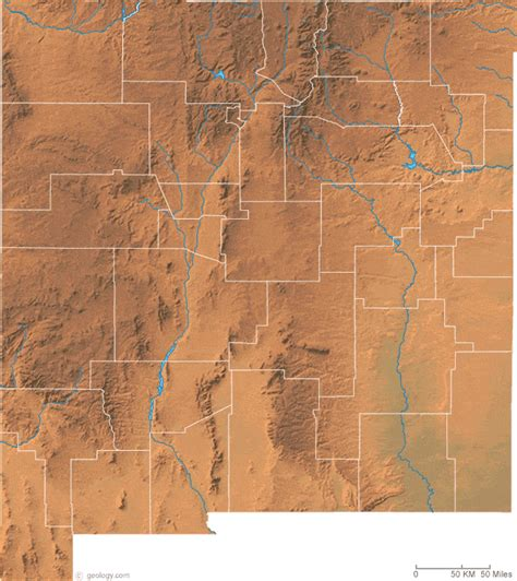 physical map of new mexico new mexico physical map and new mexico topographic map