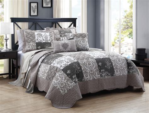 gray coverlet 5 pc grey taupe floral patchwork queen quilt coverlet set