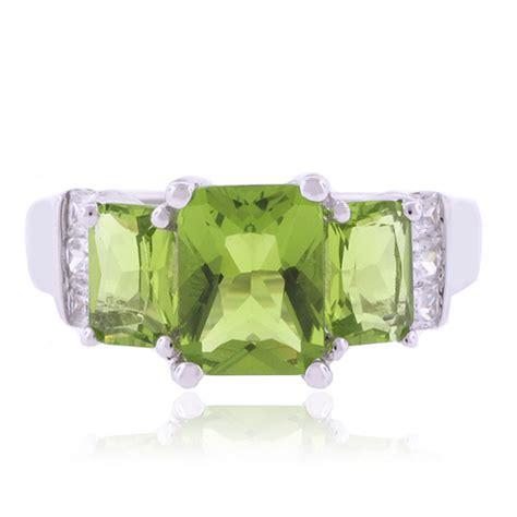 3 emerald cut peridot stones 925 silver ring