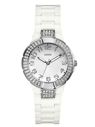 Guess Gs0296 Silver White white and silver tone status in the guess