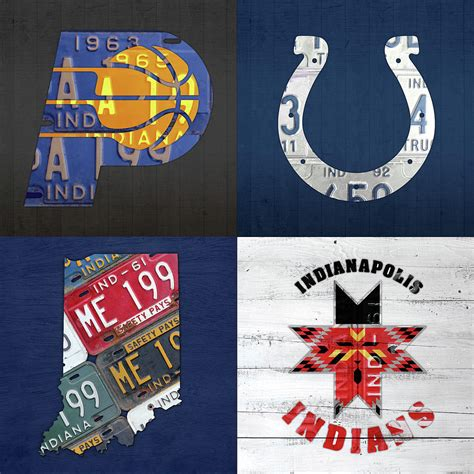 Home Decor Indianapolis by Indianapolis Indiana Sports Team License Plate Art Collage