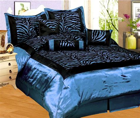 Black Light Comforter by 7 Pcs Black Light Blue Flocking Zebra Pattern Bedding