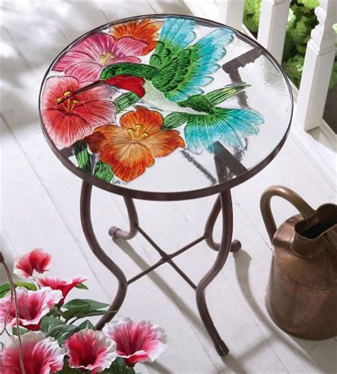 Hummingbird Garden Patio Accent Table Patio Side Tables Hummingbird Flower Glass Top Accent