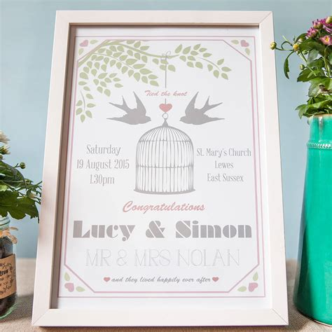 Wedding Prints by Lovebirds Personalised Wedding Day Print By Wedding In A