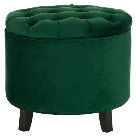 green button tufted large  velvet storage ottoman