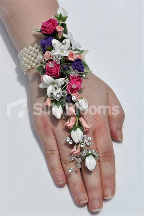 Shop Mixed Mini Rose & Stephanotis Wedding Wrist & Hand Corsage Online from Silk Blooms
