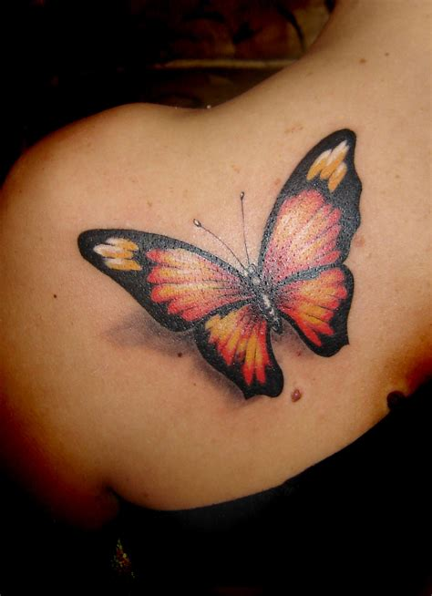 orange tattoo butterfly tattoos on shoulder
