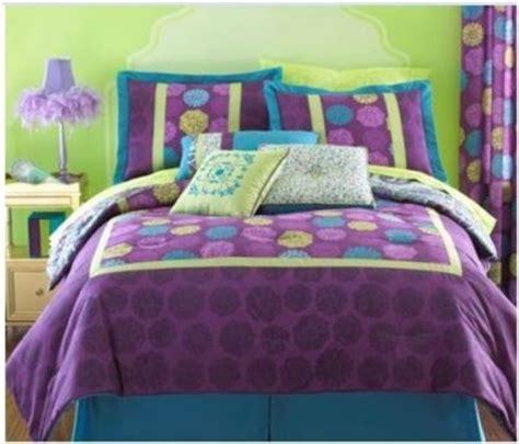 Twin Size Modern Comforter Purple Dot Yellow Bohemian Purple And Lime Green Bedding Sets