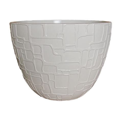 Lowes Outdoor Planters by Shop Allen Roth 11 18 In H X 15 08 In W X 15 08 In D White Resin Indoor Outdoor Planter At