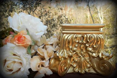 rococo home decor brilliant gold baroque pillar candle holder plant stand