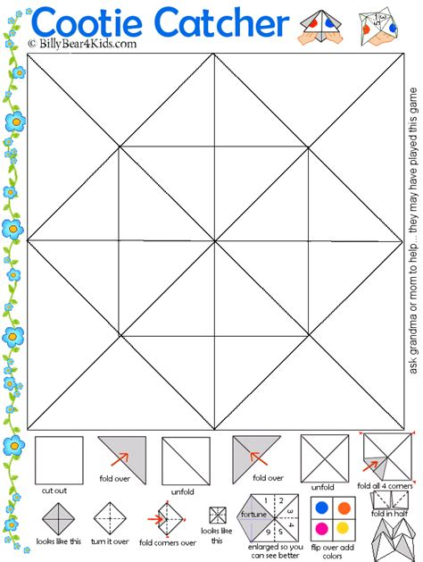 origami fortune teller printable cootie catcher template brownieish crafts