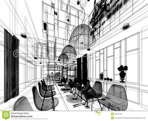 sketch of dining room abstract sketch design of interior dining room stock illustration image 45097123