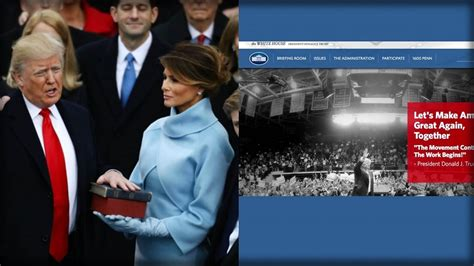 white house website trump takes office immediately 1 term deleted across entire white house website