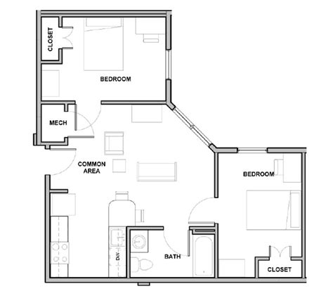 two bedroom floor plans one bath 2 bedroom 1 bath college suites at washington square