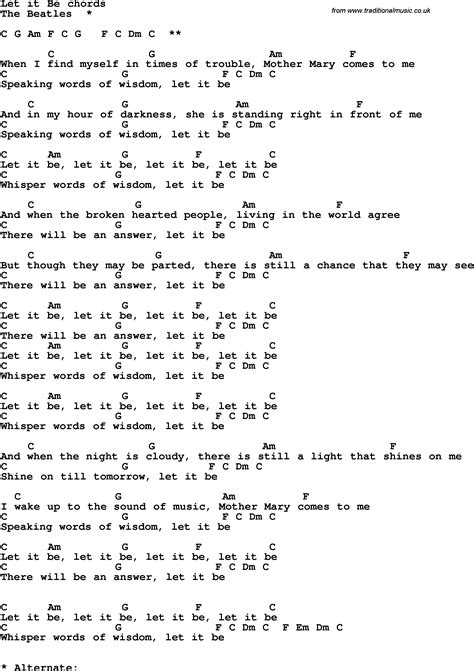 guitar lyrics song lyrics with guitar chords for let it be the beatles