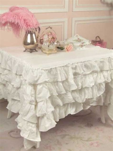 ruffle tablecloth shabby chic style tablecloth vintage