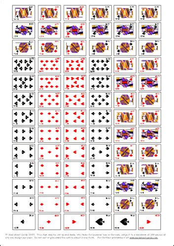 printable deck of playing cards free 7 best images of printable mini deck of playing cards