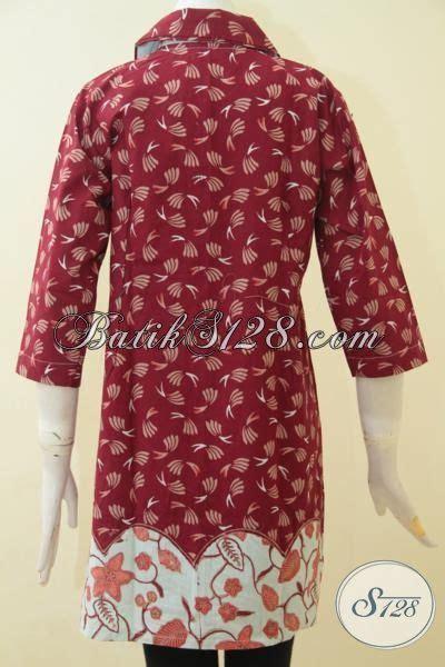 Sajadah Warna Motif Zahra Merah batik dual motif dress warna merah kombinasi putih model baju batik modern 2018
