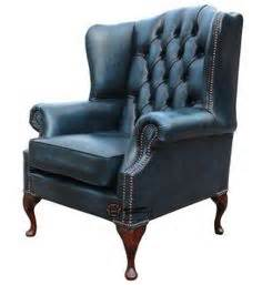 carlton chesterfield library reading wing back chair churchill leather recliner with nailheads doesnt have a