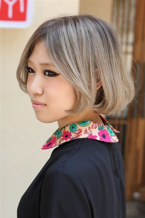 japanese hairstyles chin length gray bob cut with cute
