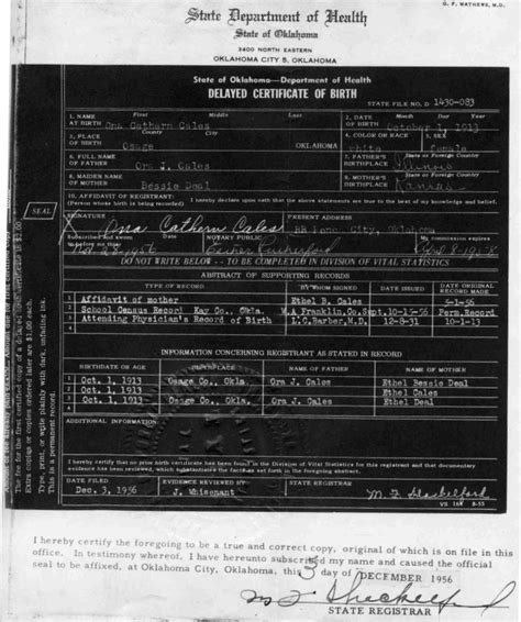 Bc Birth Records Pioneer Genealogical Society Records Birth Records Ona Catherin Cales