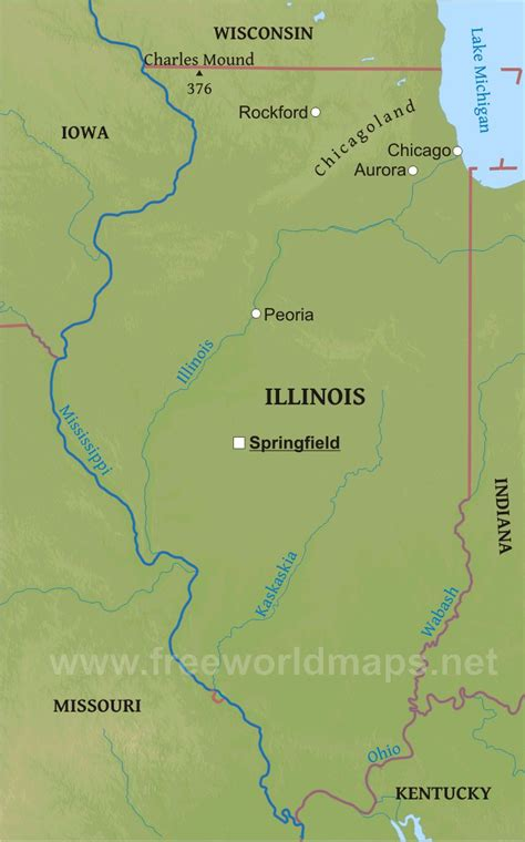 illinois physical map physical map of illinois